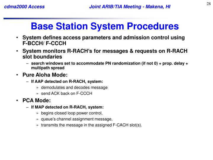 Base Station System Procedures