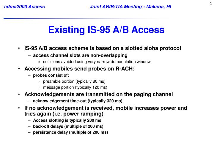 Existing is 95 a b access