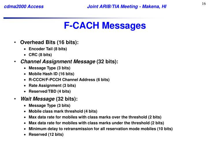 F-CACH Messages