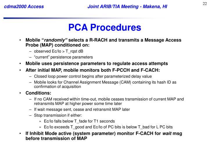 PCA Procedures