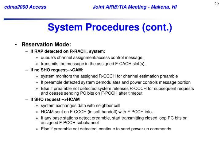 System Procedures (cont.)