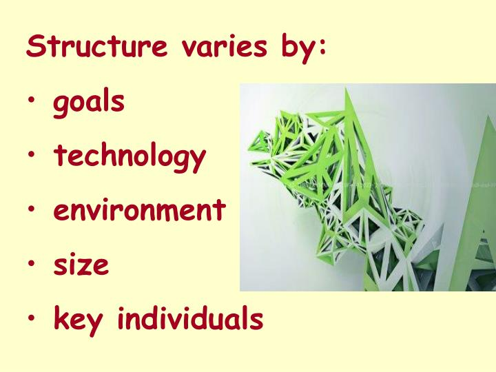 Structure varies by: