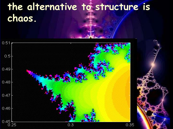 the alternative to structure is chaos.