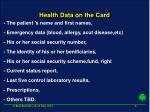 health data on the card
