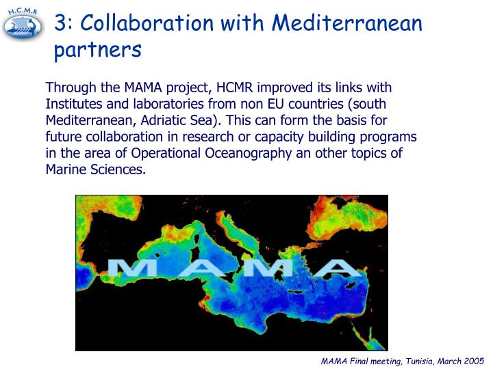 3: Collaboration with Mediterranean partners