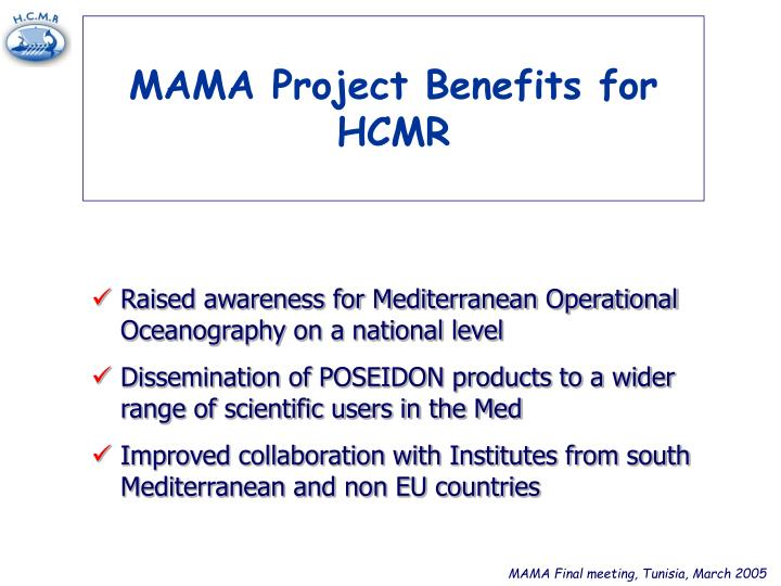 MAMA Project Benefits for HCMR