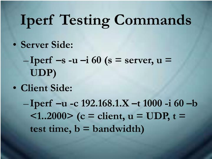 Iperf Testing Commands