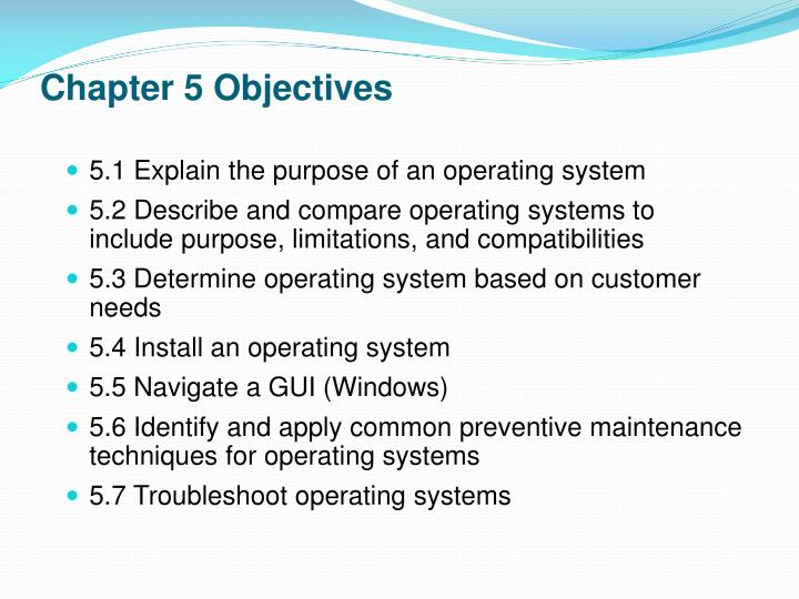 Chapter 5 objectives