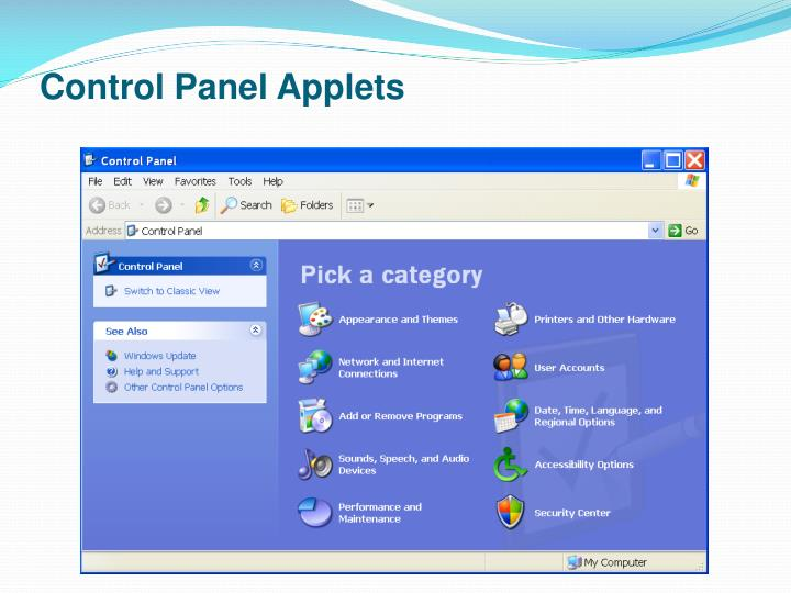 Control Panel Applets