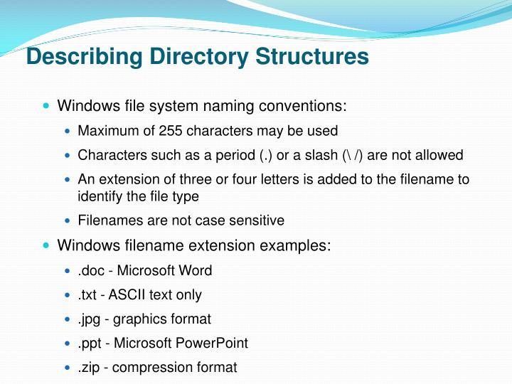 Describing Directory Structures