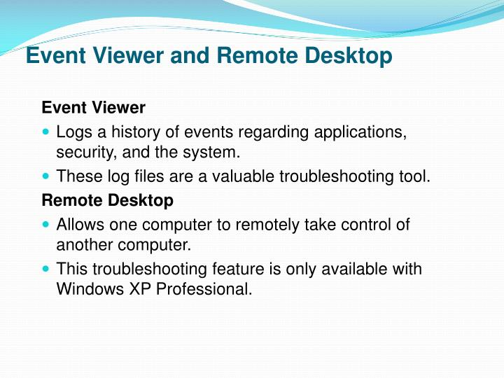 Event Viewer and Remote Desktop