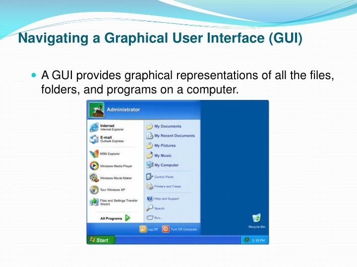 Navigating a Graphical User Interface (GUI)