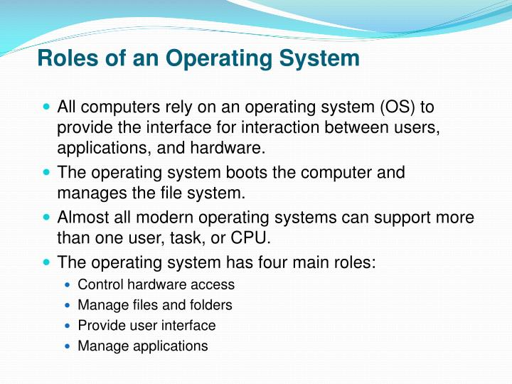 Roles of an Operating System