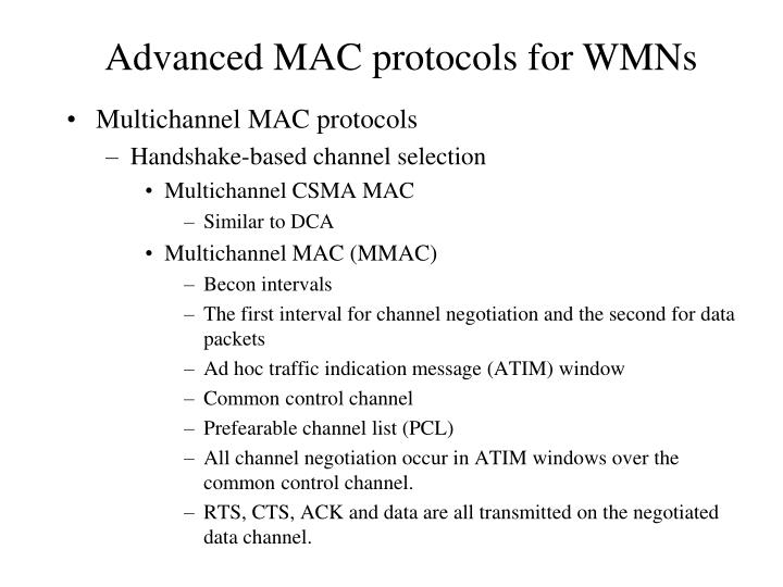 Multichannel MAC protocols