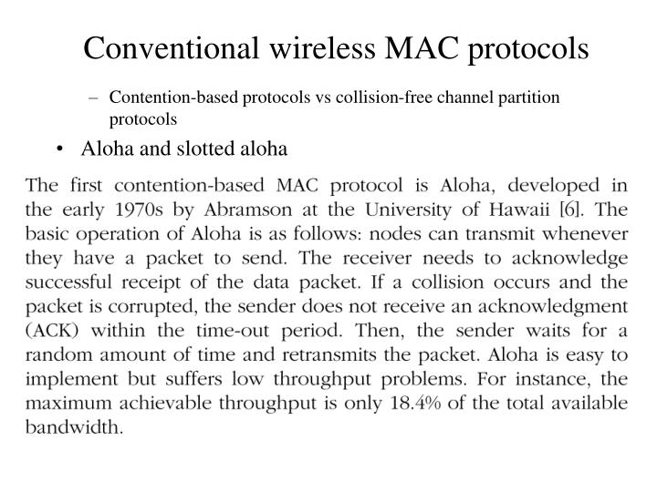 Contention-based protocols vs collision-free channel partition protocols