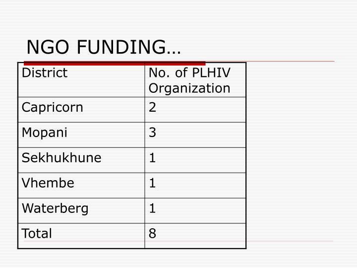 NGO FUNDING…