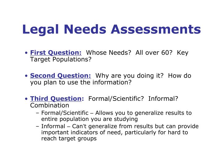 Legal needs assessments