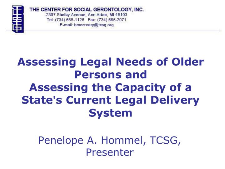 Assessing Legal Needs of Older Persons and