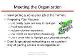 meeting the organization