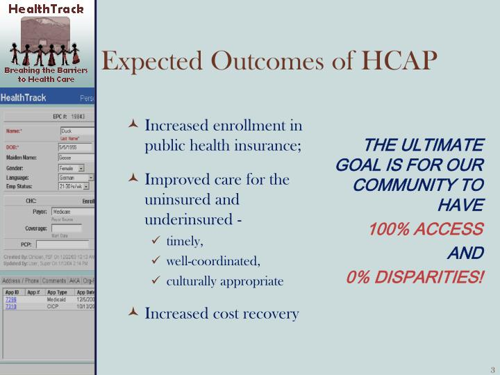 Expected outcomes of hcap