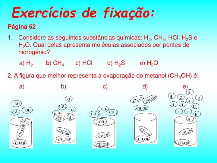 2. A figura que melhor representa a evaporação do metanol (CH