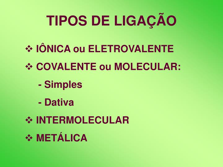 TIPOS DE LIGAÇÃO