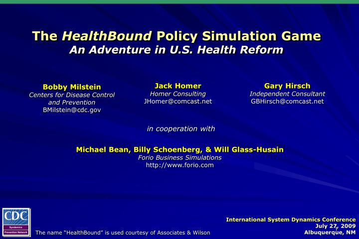 The healthbound policy simulation game an adventure in u s health reform