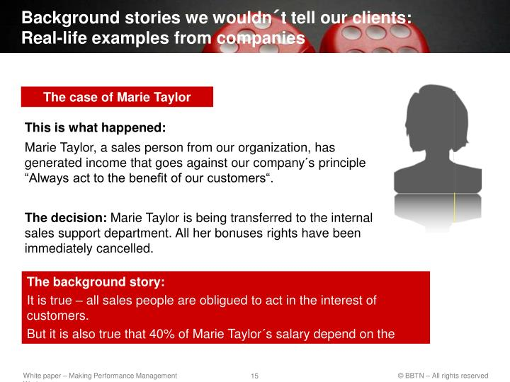 Background stories we wouldn´t tell our clients: