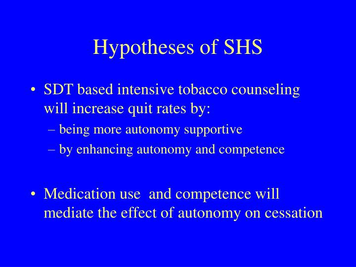 Hypotheses of SHS