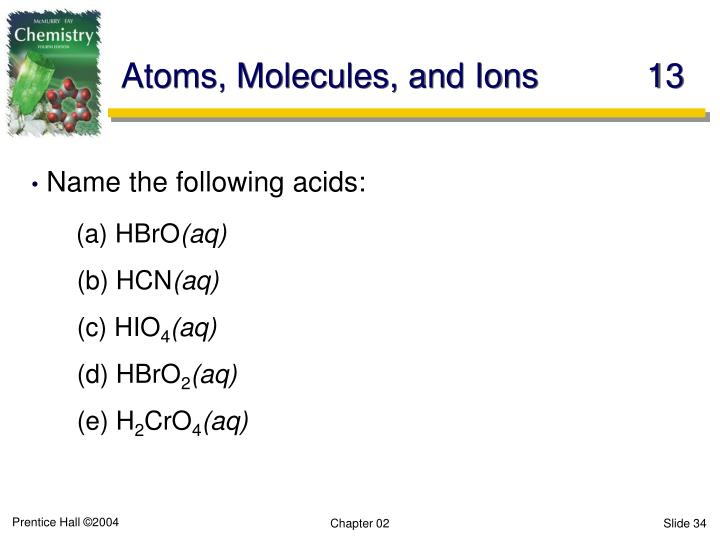Atoms, Molecules, and Ions	13
