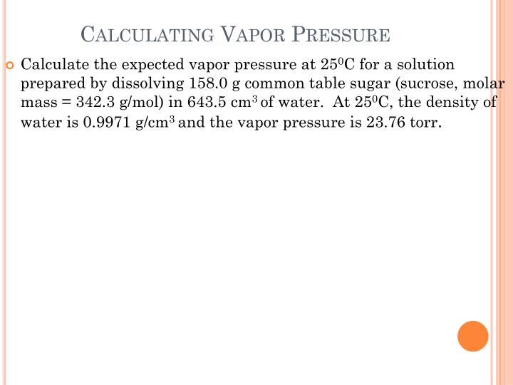 Calculating Vapor Pressure