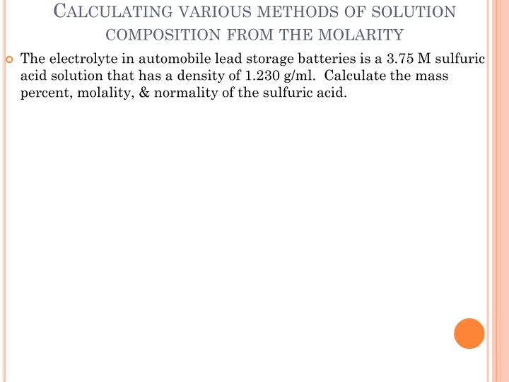 Calculating various methods of solution composition from the