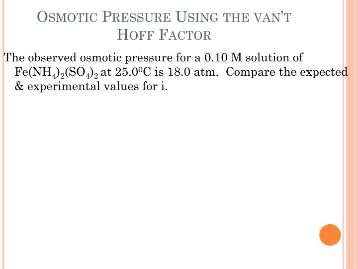 Osmotic Pressure Using the