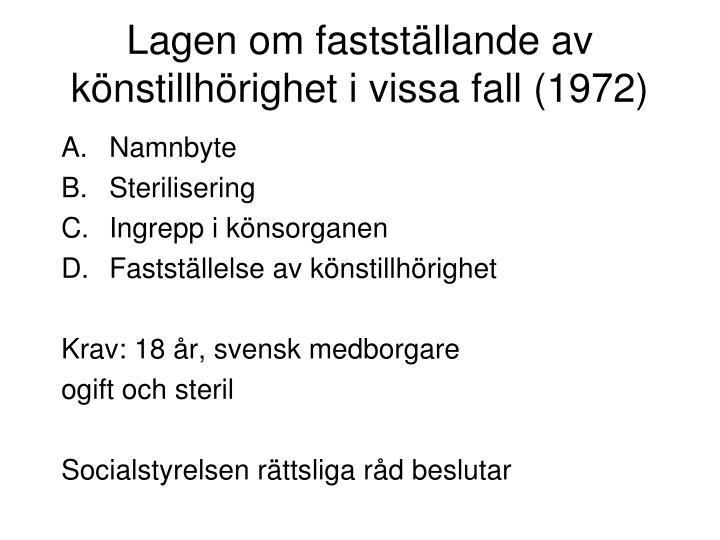Lagen om fastställande av könstillhörighet i vissa fall (1972)