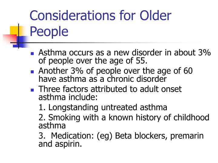 Considerations for Older People
