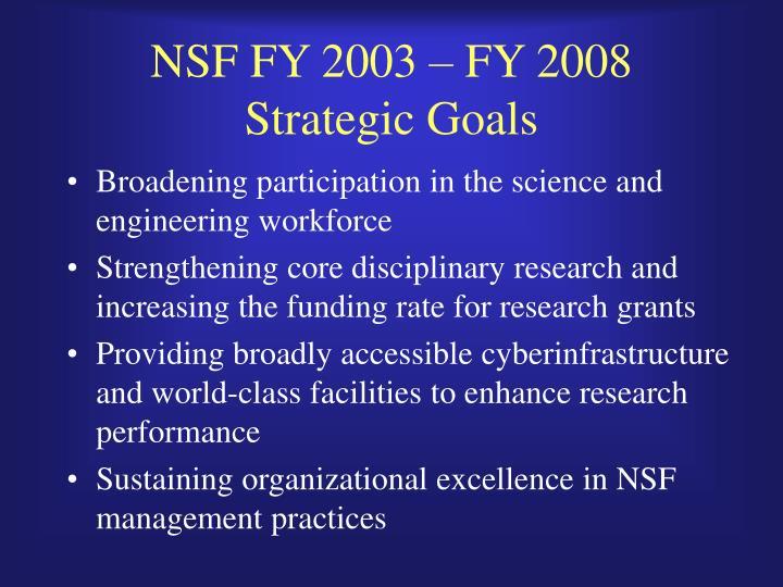 NSF FY 2003 – FY 2008