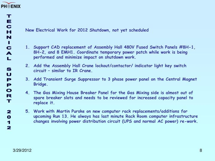 New Electrical Work for 2012 Shutdown, not yet scheduled