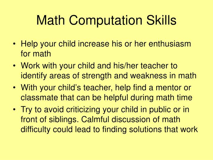 Math Computation Skills