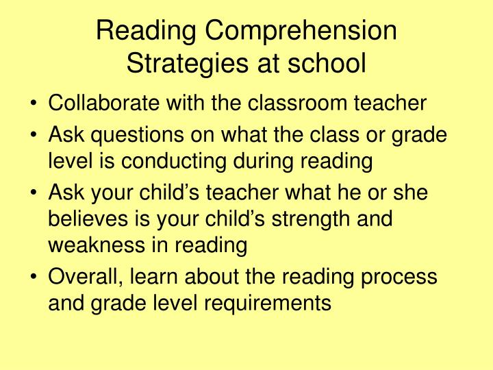 Reading Comprehension Strategies at school