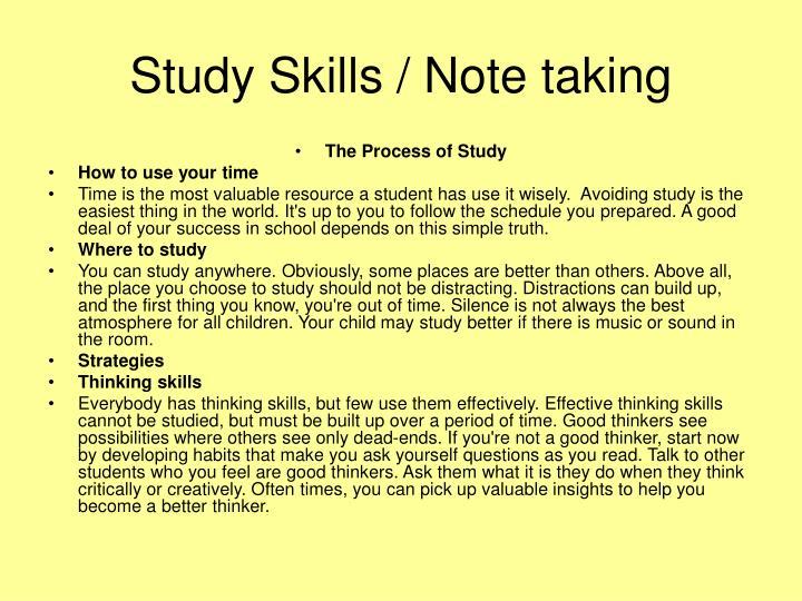 Study Skills / Note taking