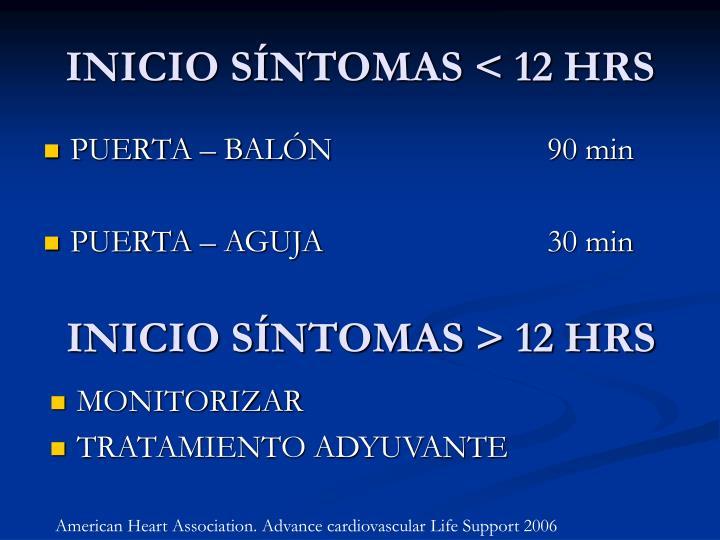 INICIO SÍNTOMAS < 12 HRS