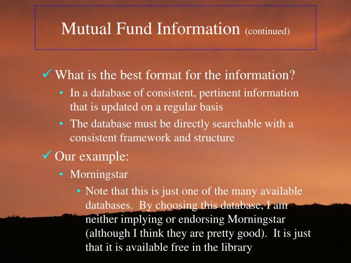 Mutual Fund Information