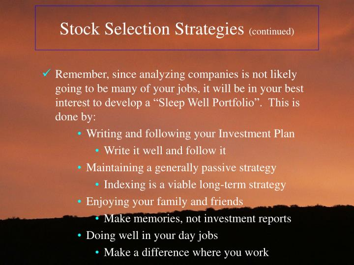 Stock Selection Strategies