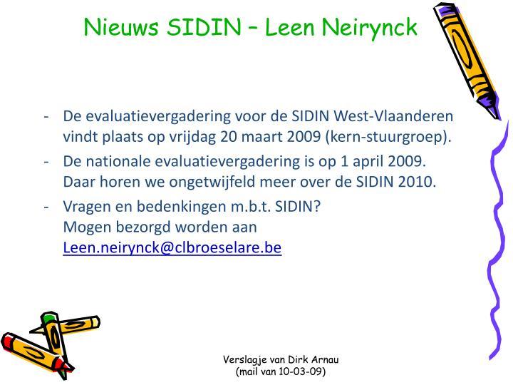Nieuws SIDIN – Leen Neirynck