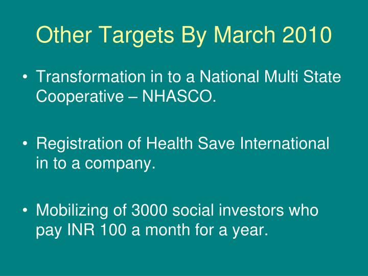 Other Targets By March 2010