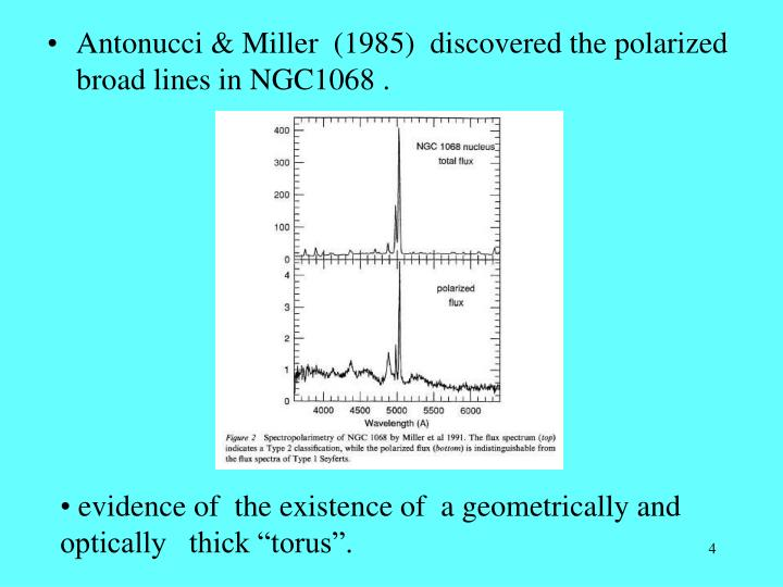 Antonucci & Miller  (1985)  discovered the polarized broad lines in NGC1068 .