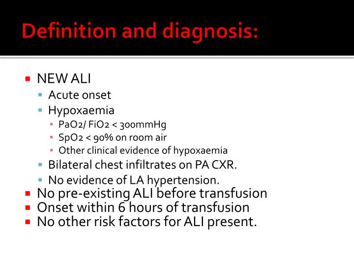 Definition and diagnosis: