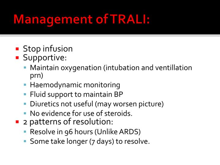 Management of TRALI: