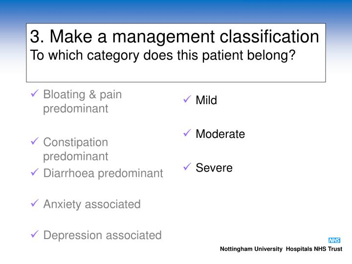 3. Make a management classification