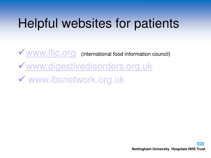 Helpful websites for patients